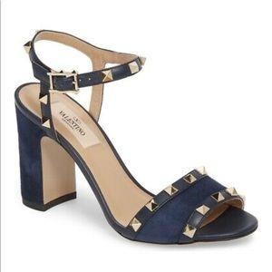 NEW Valentino Rockstud Marine Blue Suede Sandal